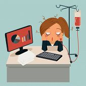 picture of intravenous  - Businesswoman sitting in office looking tired and her hand attaching intravenous tube to medicine dropper - JPG