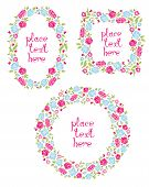 Set Of Three Floral Wreaths