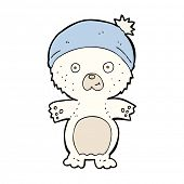 cartoon cute polar bear in hat