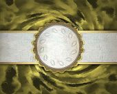 Spun Gold Grunge Texture With A White Stripe And A White Circle In Gold