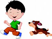 Cartoon a boy running with his pet