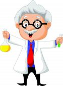 Cartoon scientist holding chemical flask
