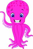Cute cartoon octopus waving