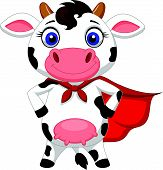 Superhero cow cartoon posing