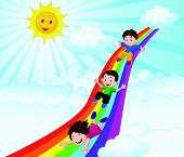 Kids cartoon Sliding Down a Rainbow