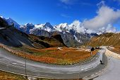 Famous picturesque views of the road in Austrian Alps - Grossglocknershtrasse. The highest mountain