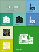 Landmarks of Ireland. Set of flat color icons in Metro style. Editable vector illustration.