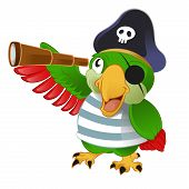 picture of character traits  - Vector image of an smiling cartoon pirate parrow - JPG