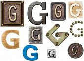 Alphabet made of wood, metal, plasticine. Letter G