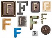 Alphabet made of wood, metal, plasticine. Letter F