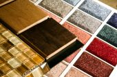 foto of glass-wool  - Colorful carpet sample wood flooring colors and glass tiles - JPG