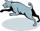 Mastiff Dog Mongrel Jumping Cartoon