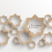 Vector 3D Muslim Cardboard Graphics. Translation: Ramadan Kareem - May Generosity Bless You During T