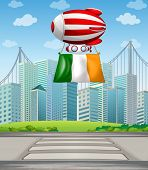Illustration of a floating balloon with the Ireland flag