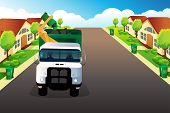stock photo of trash truck  - A vector illustration of garbage truck picking up trash in a residential area - JPG