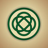 Celtic Lovers Knot Symbol of Eternal Love. Vector illustration of green celtic knot with slight grun