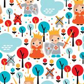 Seamless prince and princess king and queen illustration dutch kingsday holiday background pattern i