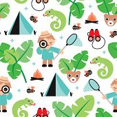 Seamless jungle boy adventure illustration theme background pattern in vector