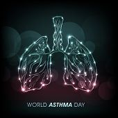 World Asthma Day concept with shiny lungs on abstract green background.
