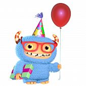 stock photo of bigfoot  - 3 d cartoon blue cute birthday monster - JPG