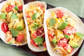 stock photo of jalapeno  - Tacos filled with migas a Tex - JPG