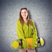 Blonde Girl With Skate Over Textured Background