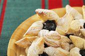 Finnish star-shaped joulutorttu christmas puff pastrieswith dried plum marmalade