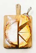 Cottage Cheese Casserole Cheesecake On Wooden Board