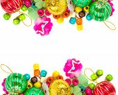 Christmas Balls Colorful Wooden Beads Colorful On White Background