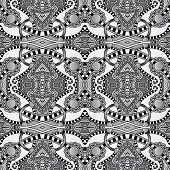 grey geometry vintage floral seamless pattern