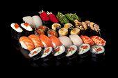 sushi rolls and sashimi