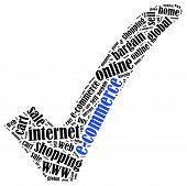 E-commerce Or Online Shopping Concept. Word Cloud Illustration.