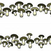 Green gray edible mushrooms autumn seasonal seamless double horizontal border on white