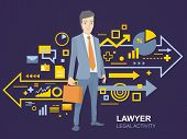 Vector Illustration Of A Portrait Of A Man In A Jacket Lawyer With A Briefcase In His Hand Stands Ne