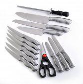Kitchen knifes set on a white background