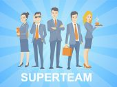 Vector Illustration Of A Super Business Team Of Young Business People Standing Together On Blue Back