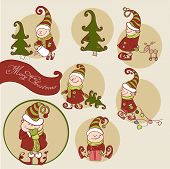 foto of gnome  - Vector Set of Christmas Gnome - JPG