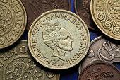 Coins of Denmark. Queen Margrethe II of Denmark depicted in Danish krone coins.