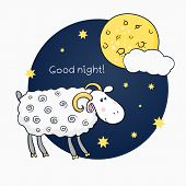 Vector print with images cute sheep on background night sky with moon and wish good night in cartoon