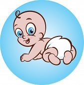 image of crawling  - vector illustration of cute crawling baby in diaper - JPG