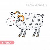 Vector cute cartoon sheep with thick fur isolated background