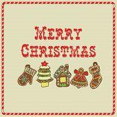 Vector Christmas Card. Gingerbread