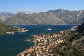 Panoramma The Bay Of Kotor. View Of The City And Mountains