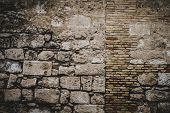 textured stone wall, Spanish city of Valencia, Mediterranean architecture