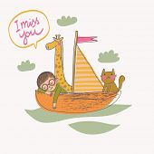 I miss you - concept card in vector. Cartoon illustration with boy, cat and giraffe on the boat