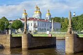 St. Nicholas Naval Cathedral And Pikalov Bridge In St. Petersburg