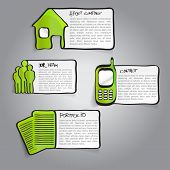 Vector abstract green infographic labels with a descriptions and hand drawn icons for company