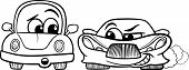 stock photo of maliciousness  - Black and White Cartoon Illustration of Malicious Sports Car and Retro Automobile for Coloring Book - JPG