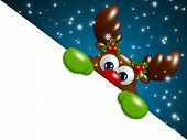 Christmas Cartoon Reindeer Over Blue Background Holding Blank