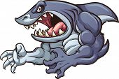 Raging strong shark. Vector clip art illustration with simple gradients. All in a single layer.